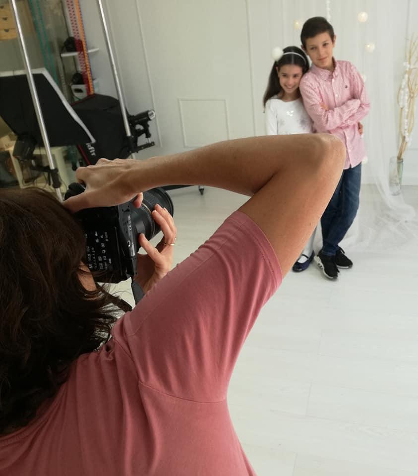 Belén Rincón durante la sesión de fotos de Navidad