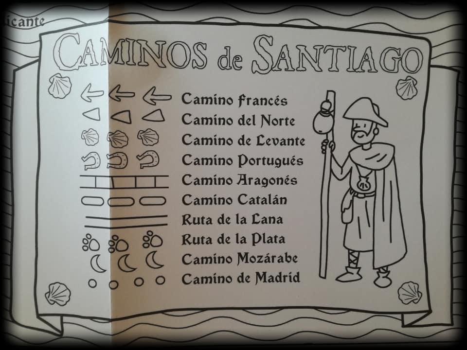 Leyenda del mapa Camino de Santiago de Pinta y Pinto