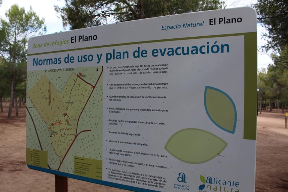 Cartel con la información de el lugar