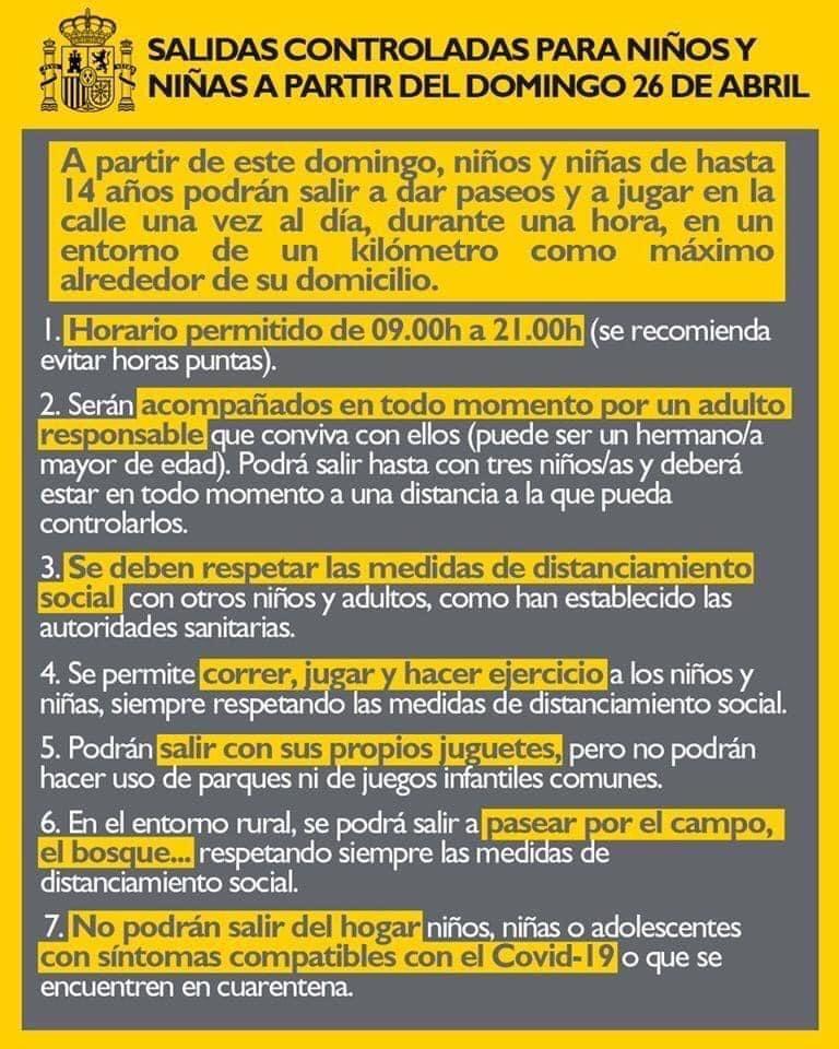 Cartel explicativo del gobierno de las salidas controladas para niños y niñas a partir del domingo 26 de abril. Muy importante para hacer un desconfinamiento infantil responsable
