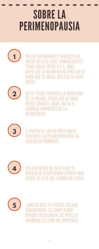 Infografía sobre algunas características de la perimenopausia