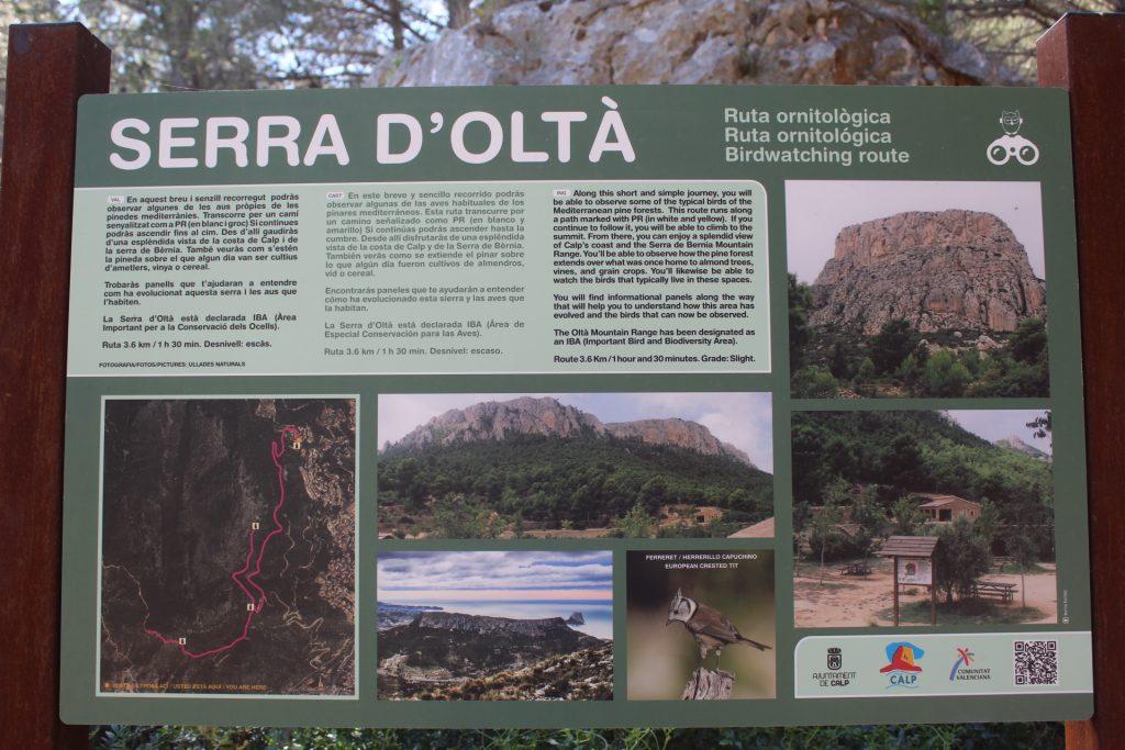 Cartel informativo de la Sierra D´Olta