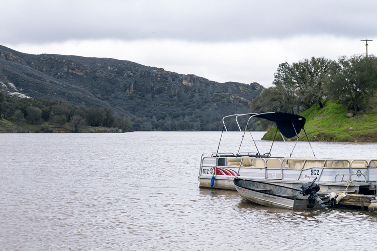 Many fishing boats, once floating low on the lake, can now be stored easily on the lakes.