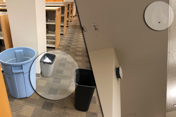 Detail: Circles highlight rain water pooling up (left) and rain water dripping from a hole in the ceiling (right).