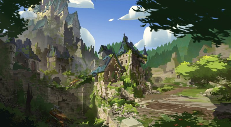 Overwatch - Eichenwalde: Castle Mood Piece por Nick Carver