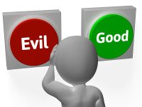 Evil Good Buttons Showing Morals Or Mischief