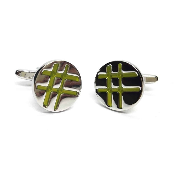 Round Silver- Green Lined Classic Cufflinks