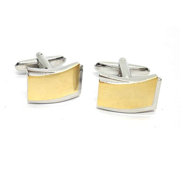 Two tone brushed classic cufflinks