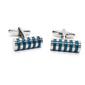 Blue hooped cyclinder cufflinks