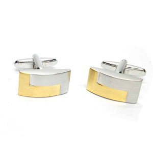 Two Tone Brushed Interlocked Cufflinks