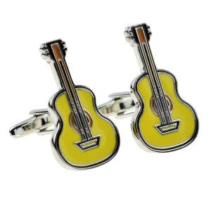 Acoustic guitar shaped cufflinks