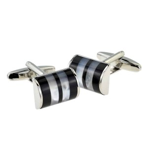 Black And Smokey half cylinder Cufflinks