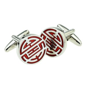 Silver and Red Chinese Longevity Symbol Cufflinks