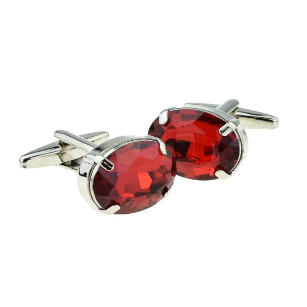Ruby Red Oval Crystal Cufflinks