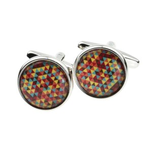 Multicoloured Triangles Design Cufflinks