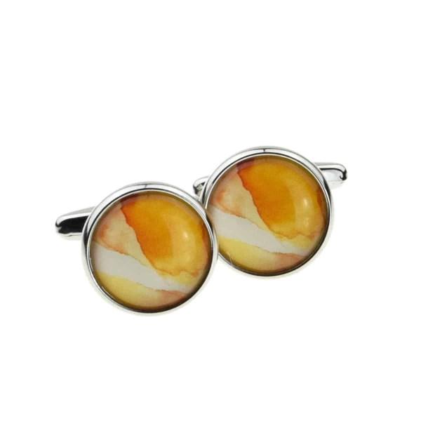 Yellow Marble Style Cufflinks