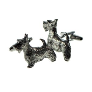 scottie dog pewter cufflinks