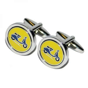 Round cufflinks with blue scooter pattern