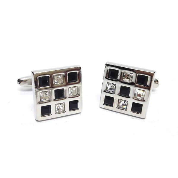 Black and clear crystal cufflinks