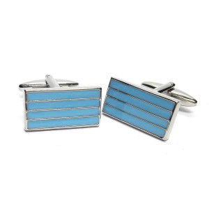 Blue Stripes Rectangle Cufflinks