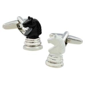 Black and white chess piece cufflinks
