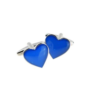 Blue heart shaped cufflinks