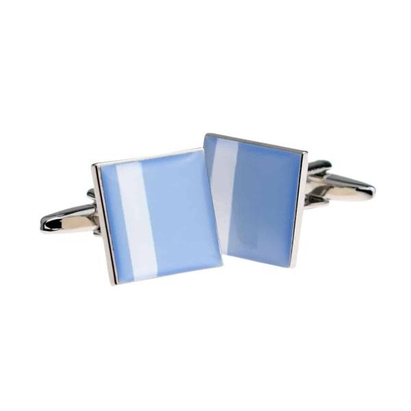 Off centre white stripe blue cufflinks