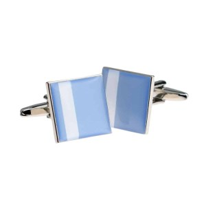 Off centre white stripe blue cufflinks