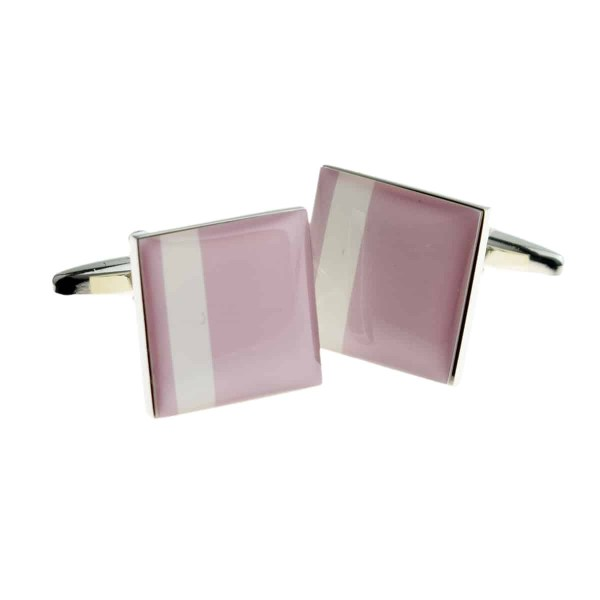 Pink with white stripe cufflinks