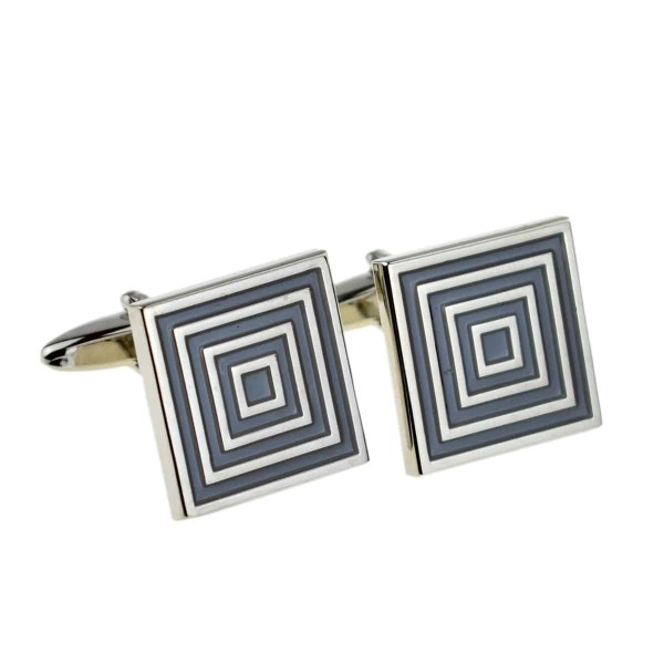 Blue and grey squares cufflinks