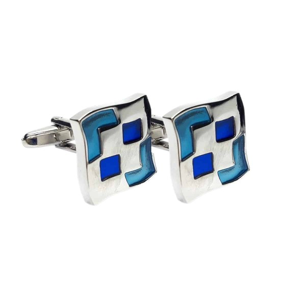 Square interesting blue pattern cufflinks