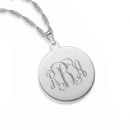 engravable round pendant necklace