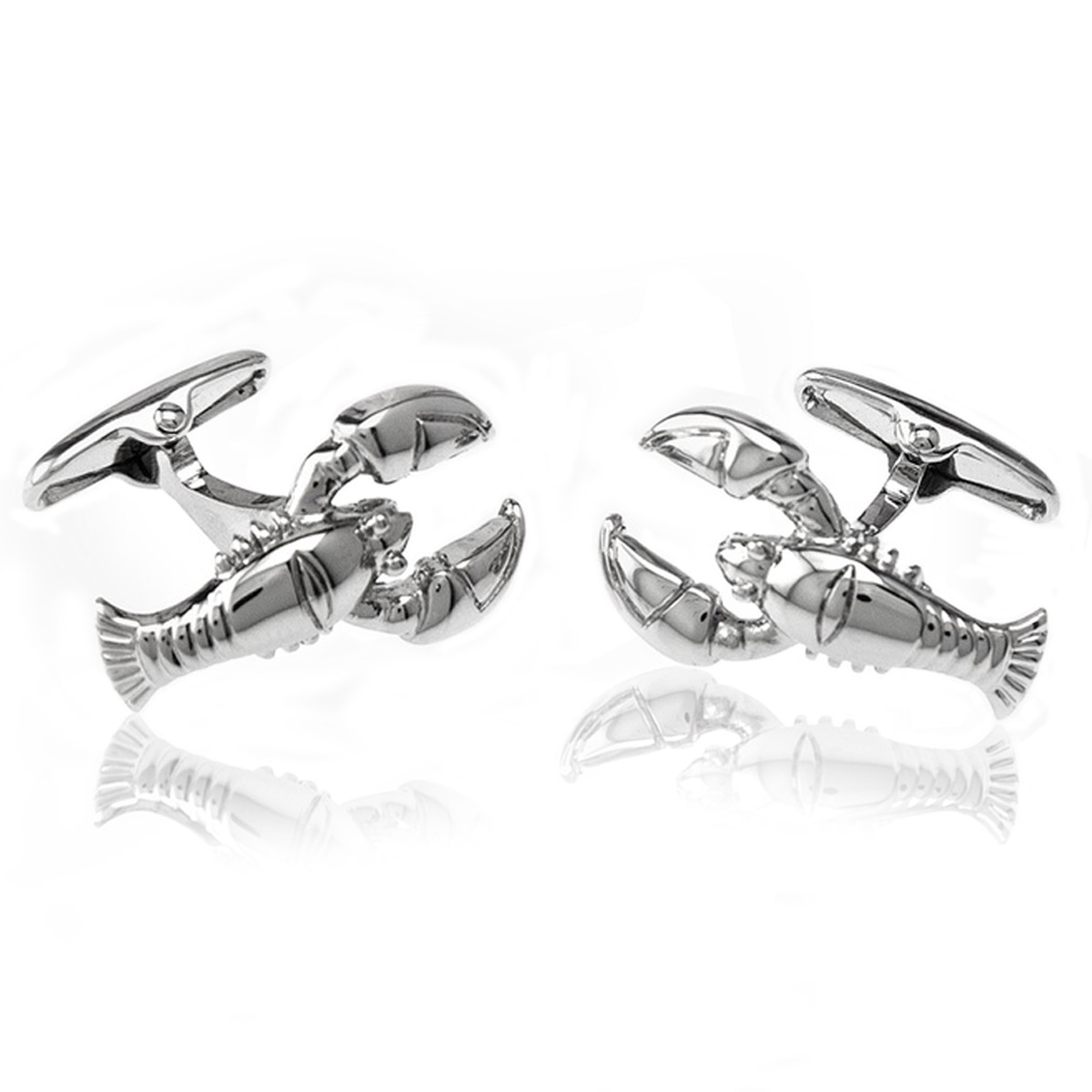 Rhodium Plated Lobster Cufflinks: Cufflinks Depot