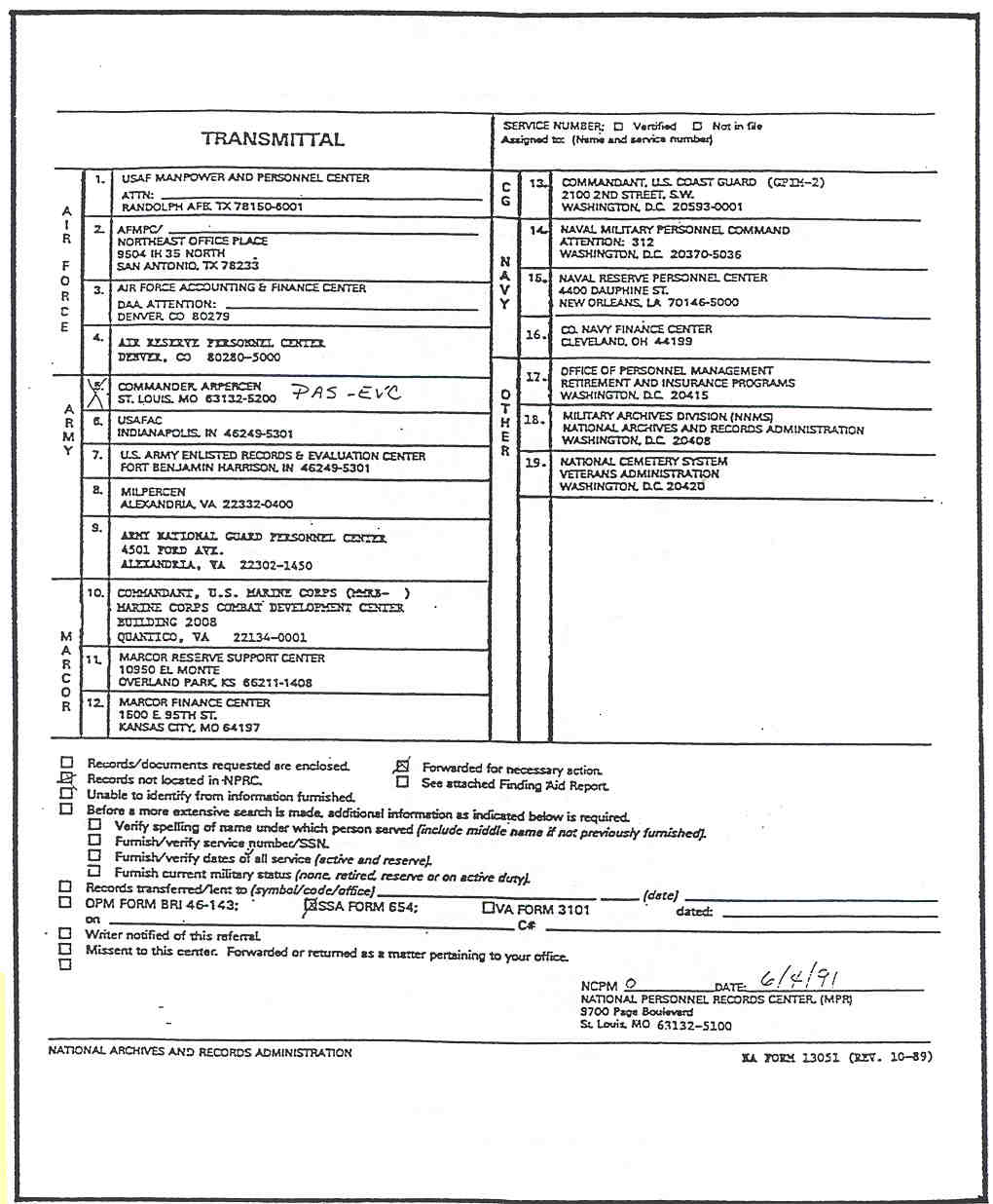 Sample of NA Form 13051 completed to show request referred