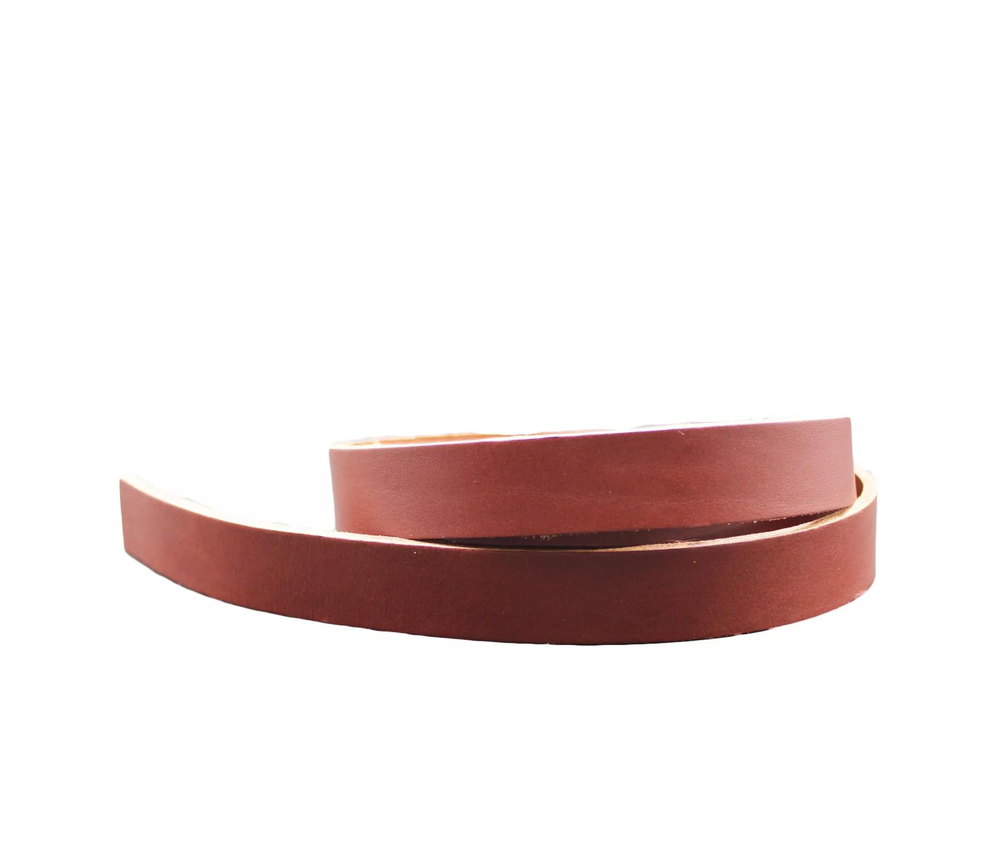 sangle en cuir 123 x 1 5 cm marron havane tannage vegetal 3 0 3 5 mm
