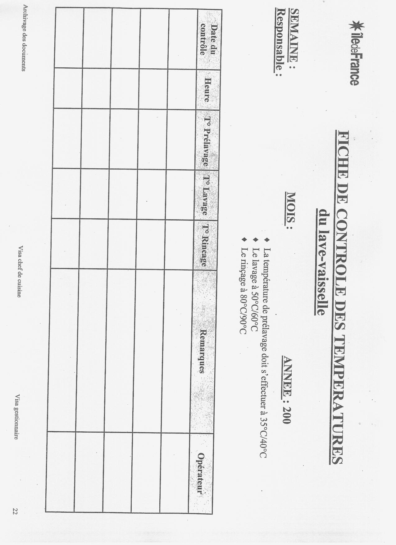 Les fiches d enregistrement pour le haccp cuisines - Mesure d hygiene en cuisine ...