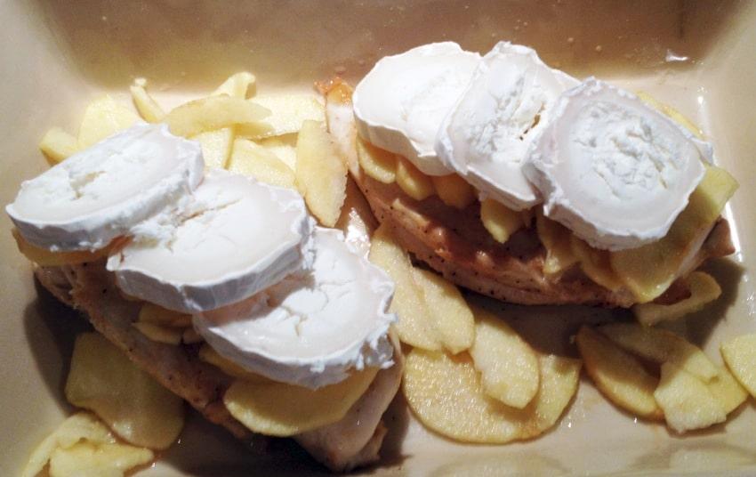 blanc poulet pomme chevre prepa 3 - Blancs de poulet aux pommes et au chèvre