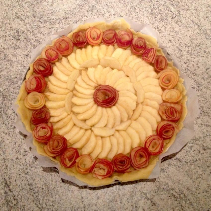 """tarte pomme roses caramel prepa 4 - Tarte aux pommes """"Bouquet de roses"""""""