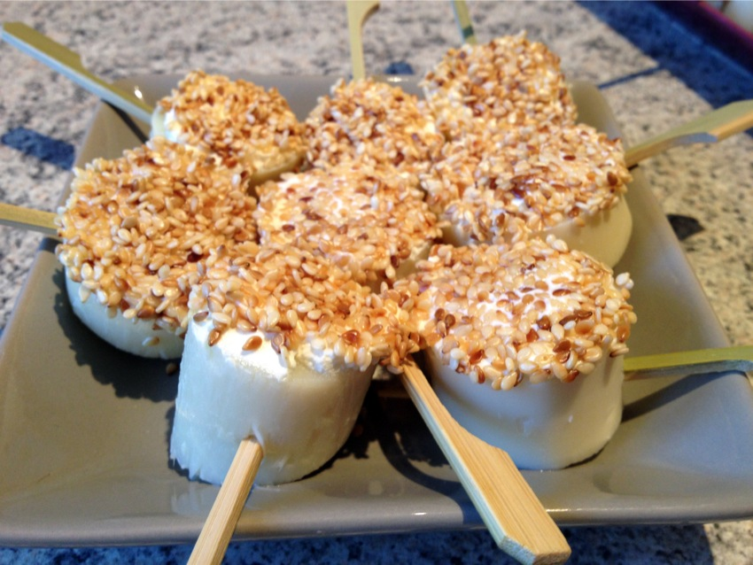 Recette de Coeurs de palmier au fromage et sésame grillé