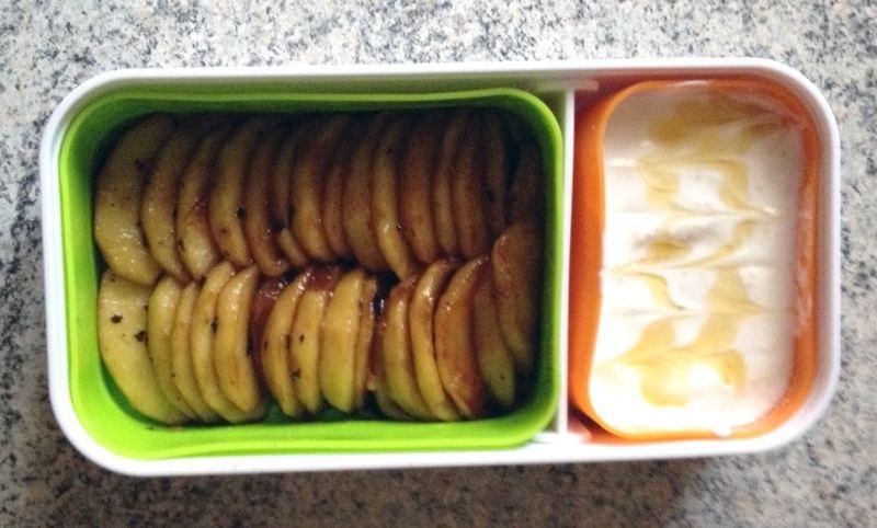 bento pommes poelees miel 2 - Zebra cake vanille-chocolat (Gâteau zébré / tigré)