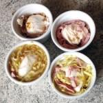 oeufs gelee endives jambon prepa 2 - Oeufs pochés en gelée, endives, jambon et pignons de pin