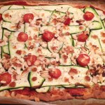 pizza courgettes mozzarella amandes 1 - Pizza courgettes, amandes, mozzarella