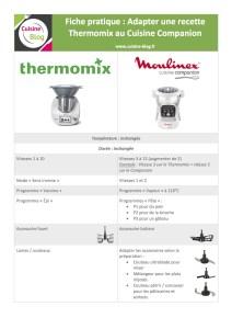 Fiche adaptation Thermomix Companion - Adapter les recettes du Thermomix au Companion