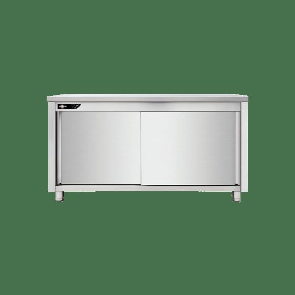 meuble bas central inox 120x60x85 cm avec portes coulissantes