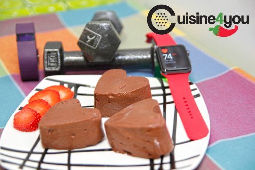 Corazones de chocolate y fresa #healthy