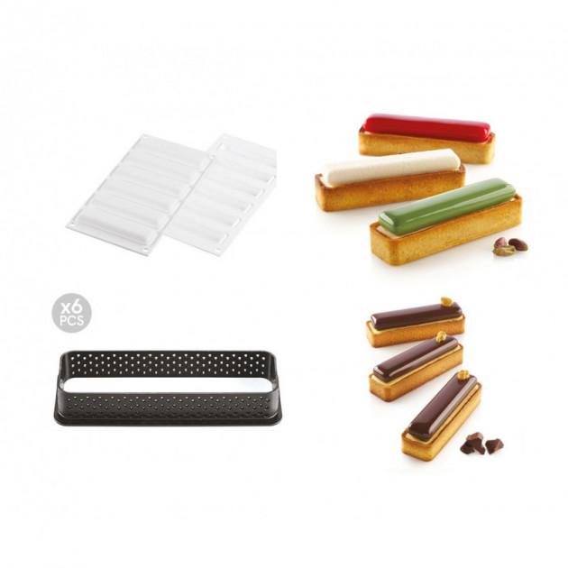 kit moule silicone 6 tartelettes rectangle 120mm silikomart professional