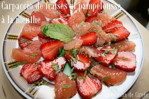 Carpaccio de fraises et pamplemousse à la menthe