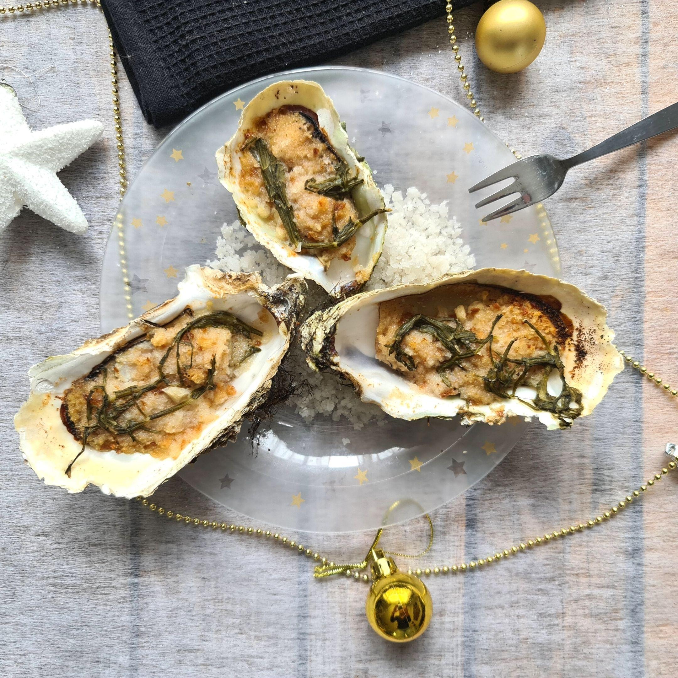 Huîtres gratinées à la salicorne