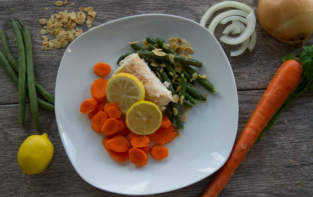 Poached Lemon Cod with Carrots, Green Beans Almandine
