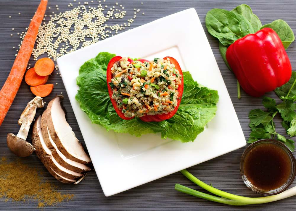 Bell Pepper Stuffed with Veggies & Quinoa, Balsamic Dressing